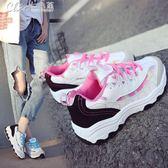 運動鞋 跑步鞋休閒女鞋休閒學生原宿百搭平底拼色女鞋「Chic七色堇」