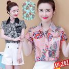 網紗領鑽飾口袋印花上衣(3) M-2XL【803700W】【現+預】-流行前線-