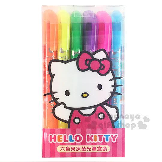 〔小禮堂〕Hello Kitty 果凍螢光筆組《6入.招手.透明盒裝》 4713791-96391