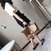 2018新款女包歐美時尚鎖扣大包包通勒百搭波士頓包韓版簡約手提包 後街五號