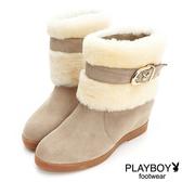 PLAYBOY 麂皮釦帶 毛海反折短靴-卡