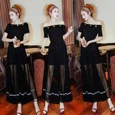 洋裝夏季韓版性感黑色長款高腰顯瘦露肩一字領短袖禮服連身裙8691GT6F-606-B快時尚