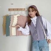 甜美毛衣V領針織小馬甲背心外套少女外穿百搭無袖短馬夾秋款學生