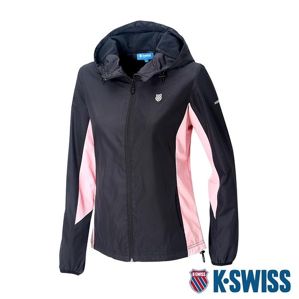 K-SWISS Contrast Panel Windbreaker刷毛風衣外套-女-黑/粉