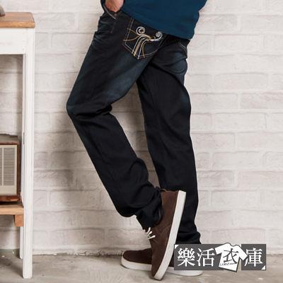韓版修身立體圖騰光澤牛仔長褲● 樂活衣庫【7055】