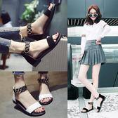 平底涼鞋女 百搭一字帶女鞋簡約女士原宿平跟羅馬鞋 薔薇時尚