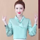 限時特購 秋季新款優雅系帶上衣女氣質長袖職業襯衫寬松洋氣時尚雪紡衫