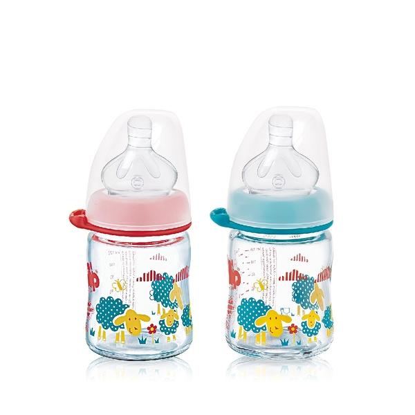 nip 德國圓型防脹氣玻璃奶瓶-120ml 紅/藍 (M號奶嘴) x 1 G-35078/G-35079
