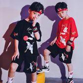 兒童套裝 表演服幼兒園小學生帥氣演出舞蹈潮服男童嘻哈街舞套裝