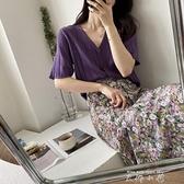初春夏仙女高級設計感下裝優雅淺紫色半身裙子日系碎花溫柔輕熟風 米娜小鋪