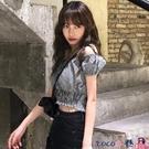 熱賣一字肩上衣 一字肩格子襯衫女2021年春季新款韓版修身泡泡袖短款襯衣短袖上衣 coco