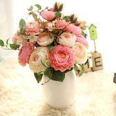 歐式仿真玫瑰花束家居客廳臥室裝飾花擺件假花絹花插花繡球花     韓小姐