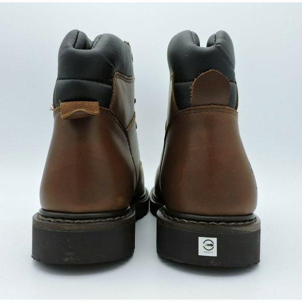 工作安全鋼頭鋼板鞋橡膠底凱欣深棕中筒型