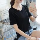 大碼上衣莫代爾V領t恤女短袖夏季薄寬鬆大碼女裝純色黑色體恤打底衫上衣 coco
