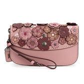 COACH 立體貼花皮革腕帶手拿包(乾燥玫瑰色)194230