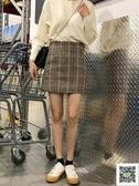 窄裙 秋冬新款百搭顯瘦包臀裙復古格子ins超火高腰半身裙子女學生 雙12狂歡