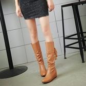 新款韓版單靴子女鞋春秋冬季中筒靴內增高中靴    汪喵百貨