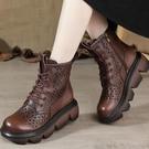 真皮2021春夏新款鏤空涼靴厚底高跟系帶女靴復古洞洞靴鬆糕跟涼鞋 快速出貨