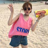夏裝女裝韓版寬鬆簡約百搭字母印花外穿無袖背心T恤顯瘦吊帶上衣「時尚彩虹屋」