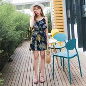 《DA5834》南洋假日鮮艷印花腰鬆緊細肩帶洋裝 OrangeBear