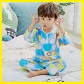 夏季兒童綿綢睡衣薄款春秋男童女童男孩寶寶純棉綢套裝空調家居服梗豆物語