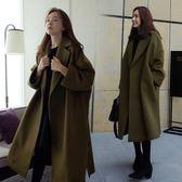 毛呢大衣秋冬季新款女裝韓版中長款呢子寬松妮子大衣加厚毛呢外套「輕時光」
