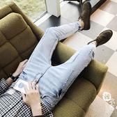 牛仔褲 - 破洞牛仔褲男青年修身小腳褲流百搭男友顯瘦男褲子【韓衣舍】