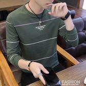 2018新款春秋季上衣服男裝長袖t恤男士秋衣韓版修身衛衣體恤小衫-Ifashion