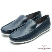 CUMAR 樂活休閒 時尚沖孔白底帆船鞋-藍色