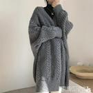 針織外套 復古慵懶風加厚寬鬆中長款過膝毛衣外套女秋冬季新款外穿針織開衫 伊蒂斯