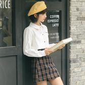 迪悠2018秋裝新款韓版襯衫女長袖寬鬆百搭女生襯衣娃娃領系帶上衣