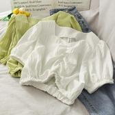 新款洋氣V領褶皺短款收腰雪紡上衣女燈籠袖學生休閒襯衫 - 風尚3C