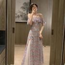 平口洋裝/一字領 吊帶裙2021新款春夏茶歇法式氣質超仙女甜美一字肩碎花連身裙長裙