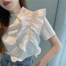 荷葉邊上衣 夏季2021新款設計感荷葉邊短袖上衣女韓版復古個性寬鬆顯瘦T恤潮 寶貝寶貝計畫 上新