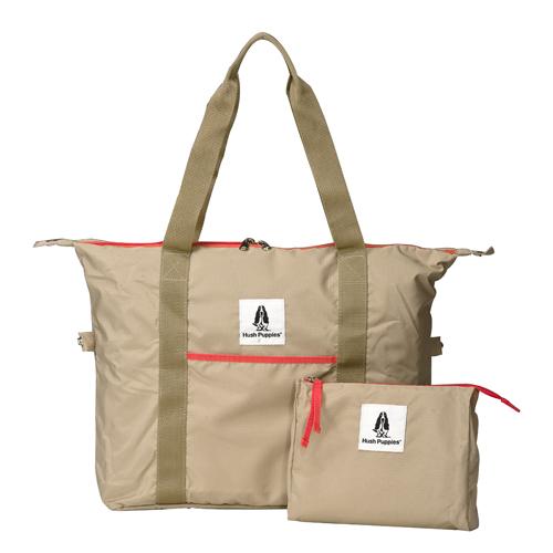 Backbager 背包族【 Hush Puppies】FOLDING 摺疊 可收納 折疊 購物袋/托特包/旅行袋_卡其色
