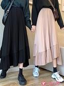 半身魚尾裙 高腰半身裙秋冬女2021新款百搭不規則百褶裙氣質黑色A字魚尾裙子 小天使