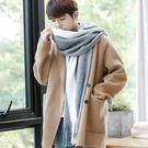 男士冬季保暖簡約拼色設計圍巾