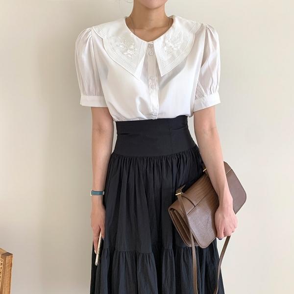 兩件可選.韓國花朵刺繡公主袖襯衫+高腰緞面蛋糕長裙.白鳥麗子