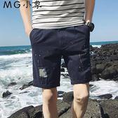 休閒短褲 夏季直筒韓版寬鬆沙灘破洞短褲