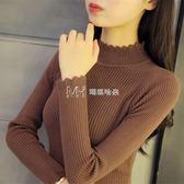 女毛衣  半高領套頭毛衣女韓版加厚長袖打底衫修身內搭短款  瑪奇哈朵