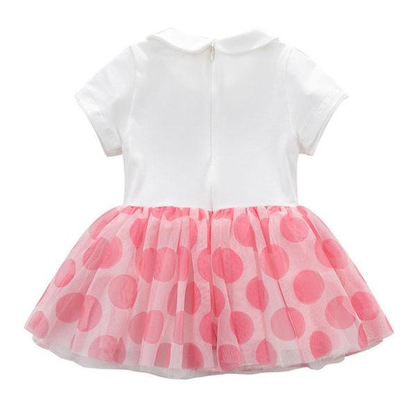 洋裝 小童/大童 DaveBella 雙圓領拼接紗裙短袖洋裝 - 粉色大圓點 DB5280