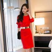 晚宴禮服2018秋季新品韓版一字肩針織打底洋裝女氣質包臀顯瘦禮服裙 雙12購物節