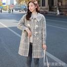 長款外套外套女秋冬流行新款格子牛角扣大衣女學院風中長款 【快速出貨】