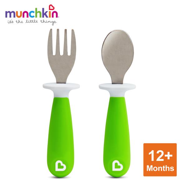 munchkin滿趣健-不鏽鋼學習叉匙組-綠
