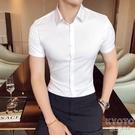 夏天薄款純色襯衫男短袖商務職業裝修身免燙抗皺男士襯衣百搭 快速出貨