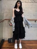 洋裝 輕熟吊帶連身裙女氣質春裝法式復古小禮服赫本黑色蛋糕裙 芊墨左岸