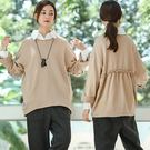 T恤-後背褶皺圈圈純棉衛衣長袖寬鬆/設計家T8908