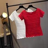 夏季T恤女裝韓版百搭短袖鏤空顯瘦純色一字領針織上衣女打底衫潮Mandyc