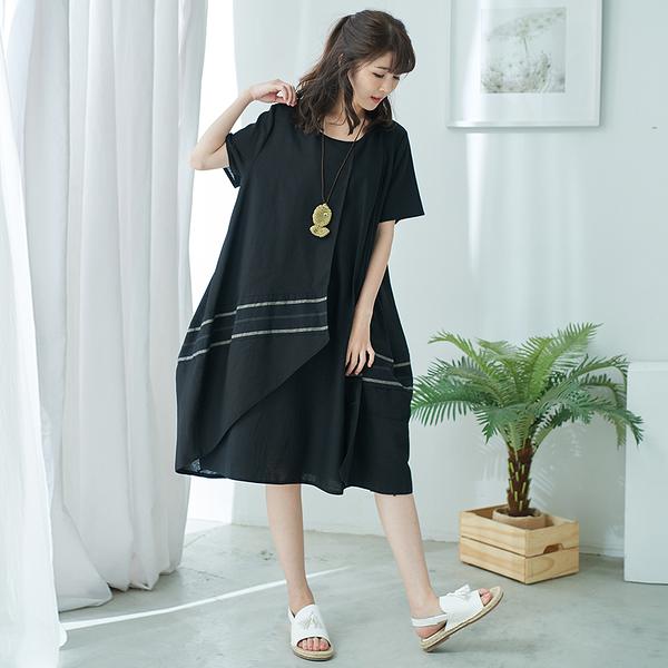 【慢。生活】雙層設計撞色連身裙-F 50812 FREE黑色
