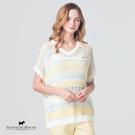 撞色不規則橫條紋X背裝飾釦設計針織罩衫/上衣 AE1478